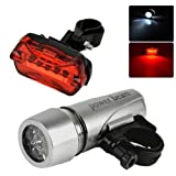 #5: AlexVyan Power beam - Black Bicycle Safety Warning Light Set, Head And Tail Led Cycle Lights (5 LED Bulb each in Head/Tail Light)