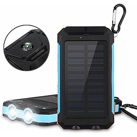 Aedon A5 10000mAh Cargador Solar Portátil, Externa Batería de Móvil con LED muy dispositivos Digitales y portátil brújula para los viajes de emergencia acampar al aire libre