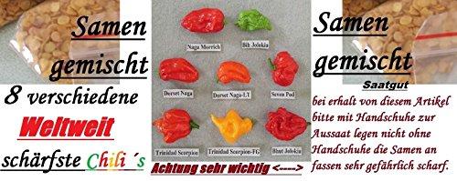 40x Schärfste Chili´s der Welt Saatgut gemischt sehr scharf Samen Pflanze Chili Gemüse Garten Neuheit #106