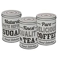 WW Global Trading Gift set of Three Metal Tea, Coffee and Sugar Storage Containers/Canisters