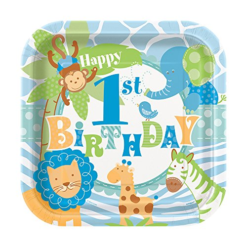 , quadratisch, blaues Safari-Design, Aufschrift 1st Birthday, 8 Stück (Safari Party Supplies)