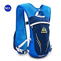 AONIJIE Unisex 5.5L Running Race Hydration Vest Hydration Pack Backpack (Blue-M/L)