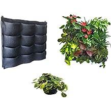 12bolsillo fieltro contenedor bolsas de crecimiento de plantas de jardín de colgar en la pared para colgar en pared vertical Living maceta o hierbas fresas flores