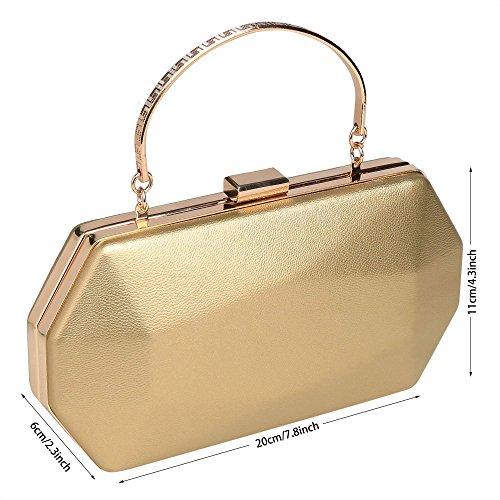 ZEARO Abendtaschen Damen Clutch klassische Handtasche Umhängetasche Brauttasche mit Kette Gold