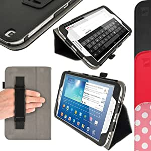 """iGadgitz Premium Folio Black PU Leather Case Cover for Samsung Galaxy Tab 3 8.0"""" SM-T310 with Multi-Angle Viewing Stand + Auto Sleep/Wake + Hand Strap + Screen Protector"""