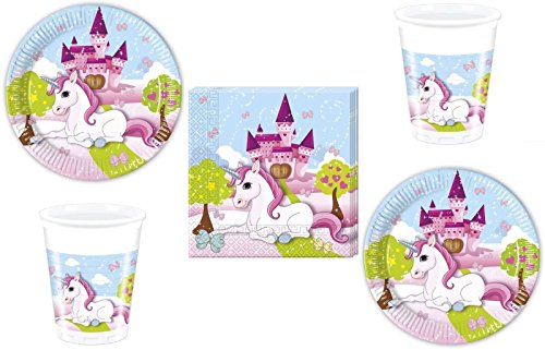 52-teiliges Party-Set Einhorn - Unicorn - Teller Becher Servietten für 16 Kinder