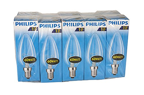 Philips 30600005 e. lampadina a incandescenza , vetro, trasparente, forma di candela, e14, 60 watt, confezione da 10 pezzi