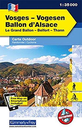 K&F Elsass / Vogesen Outdoorkarte 03 Elsass - Ballon d'Alsace 1 : 35 000 (Kümmerly+Frey Outdoorkarten Frankreich)
