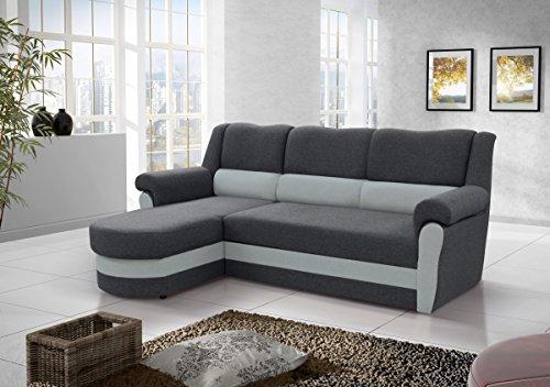 kleines Ecksofa Sofa Eckcouch Couch mit Schlaffunktion und Bettkasten Ottomane L-Form Schlafsofa Bettsofa Polstergarnitur CANNES (Grau, Ecksofa Links)