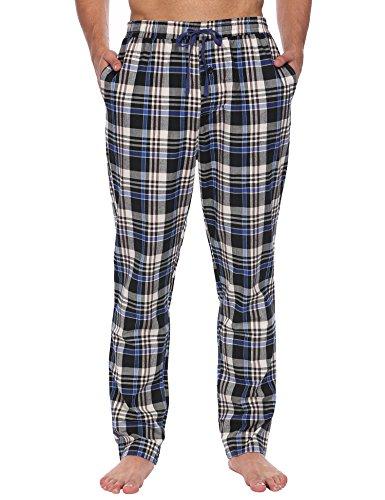 Herren Pyjama Hose Klassisch Kariert Nachtwäsche Lang Freizeithose Baumwolle mit Gummiband, Schwarz 502, EU 42(Herstellergröße: XL) (Kleine Pyjama-hose)