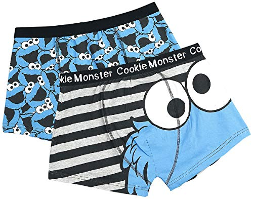 Sesamstraße Herren Boxershorts 2er-Pack Cookie Monster Schwarz L