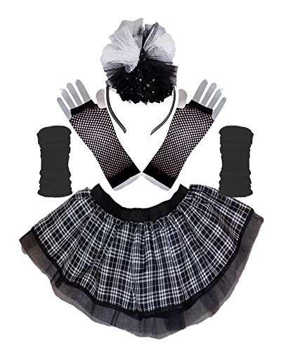 Gothic Punk Black and White Tartan Tutu Skirt with Legwarmers, Fishnet Gloves & Headband - Size 10-22