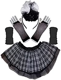 Honey B's Gothic Black White Tartan Tutu Skirt Legwarmers Gloves & Headband Set