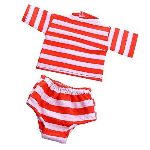 MagiDeal 2pcs/Set Puppenkleidung für 18'' American Girl - Gestreiftes T-Shirt & Unterwäsche - Rot & Weiß (American Girl Puppe Rotes T-shirt)