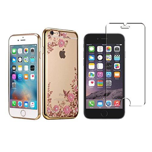 Minto Diamant TPU Blumen Hülle + Panzerglasfolie für iPhone 7 Echtglas Hartglas Schutzfolie 9H Transparent Silikon Schutzhülle Case Cover Etui Tasche Tempered Glass - Rosegold mit Weiß Blumen (verklei Gold mit Pink Blumen -i6+