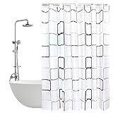 Anti-Schimmel Duschvorhang - 180 x 200 cm Duschvorhang in Gitter mit 12 Duschvorhangringe, vorhänge Anti-Bakteriell Duschvorhang für Badezimmer
