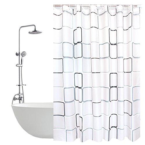 Anti-Schimmel Duschvorhang - 120 x 200 cm Duschvorhang in Gitter mit 12 Duschvorhangringe, vorhänge Anti-Bakteriell Duschvorhang für Badezimmer (Gitter-duschvorhang)