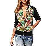 ABsoar Mode Floral Blumenmuster Bomberjacke Stretch Leichte Bikerjacke Kurz Mantel mit Reißverschluss Ananas Print Mantel Jacken Mantel Wasserfall Strickjacke Outwear