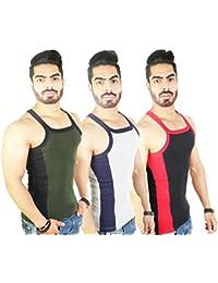 Zimfit Men's Gym Vest Pack Of 3 (Green_Grey_Black)