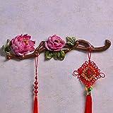 Eeayyygch Chinesische kreative Wand Ornamente Wand Kleiderhaken/Reihe von Haken Schlafzimmer Bekleidungsgeschäft Wand Dekoration Haken (Farbe: Rot) (Farbe : Rot, Größe : -)