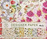 50 Fogli 10 Natura Unica Fiori Progetti di Scrapbooking Carta Decoupage Designer Pennello d'Oro di Carta Pack 23 cm x 24.5 cm