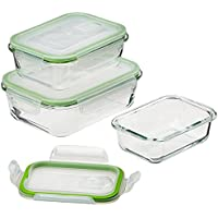 """GOURMETmaxx 06527 Glas-Frischhaltedosen """"Klick-it""""   6 Teile   Geeignet für Mikrowelle, Gefrierschrank und Spülmaschine   Transparent"""