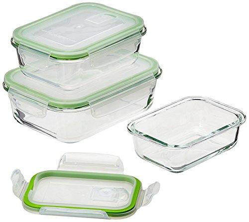 GOURMETmaxx 06527 Glas-Frischhaltedosen Klick-it | 6 Teile | Geeignet für Mikrowelle, Gefrierschrank und Spülmaschine | Transparent (Glas Aufbewahrungsbox)