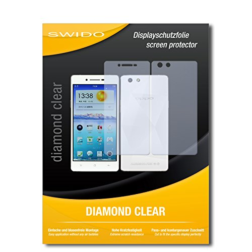 SWIDO 3 x Schutzfolie Oppo R1x Bildschirmschutz Folie DiamondClear unsichtbar