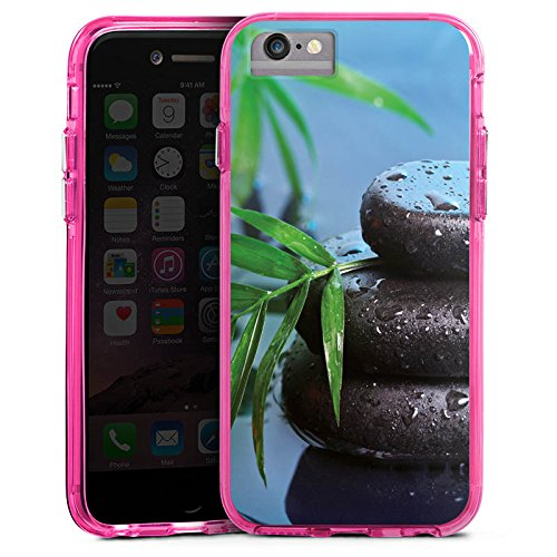 Apple iPhone 6 Plus Bumper Hülle Bumper Case Glitzer Hülle Zen-Steine Wasser Water Bumper Case transparent pink