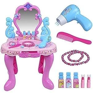 m dchen rosa schminktisch kinder umkleide leuchtend ton haare spiegel make up schreibtisch. Black Bedroom Furniture Sets. Home Design Ideas