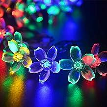 lederTEK Solares Luces de Hadas de Cuerda 6.5m 50 LED Multicolor Flor Decorativos Exterior (50 LED Color Multi-) [Clase de eficiencia energética A++]