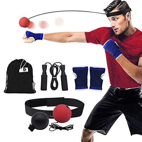 DAZISEN Palla da Boxe per i Riflessi - per Migliorare la Reattività e la velocità Attrezzatura da Boxe Corda per Saltare di Fitness, 7 Pezzi Set