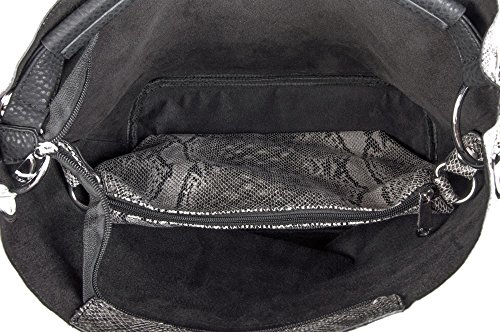 styleBREAKER Handtaschen Set mit Strass Applikation im Sternenhimmel Design, 2 Taschen 02012013 Schlange Grau / Schwarz