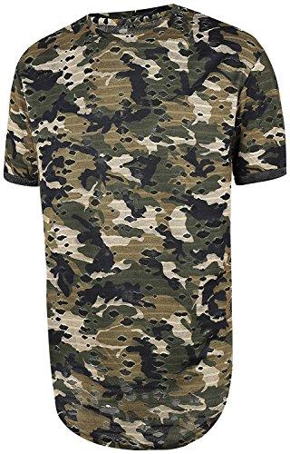 Pizoff HERREN Military T-Shir Sommer Tarnung CAMOUFLAGE lange zerrissen Loch Layered-Army Hip Hop unisex lässig Military T-shirt Y1727-32-L (Layered T-shirt)