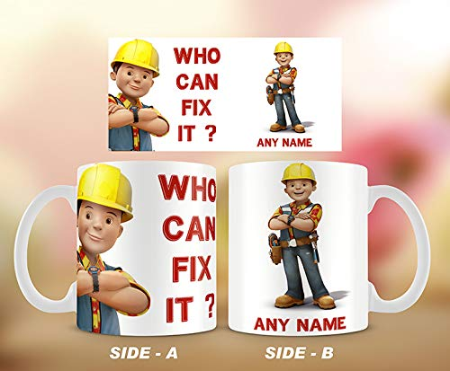 Personalised Bob The Builder-Who can fix it Mug,Construction Manager,Christmas Gift Idea.