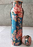 #10: ThEssential Copper Water Bottle, copper bottle 850ml, copper bottle for office, for home, for kids, kids for school, copper water bottle pure, 1ltr, printed copper bottles, outer part does not oxidise as it has handmade print. (Multi) (multi)
