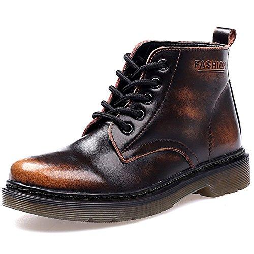SITAILE Unisex-Erwachsene Bootsschuhe Derby Schnürhalbschuhe Kurzschaft Stiefel Winter Boots für Herren Damen Gefüttert Braun EU46