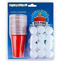 Set de Beer Pong Americano – 25 Vasos Rojos y 25 Bolas de Pimpón – Juego de Mesa para de Adultos – Accesorio para Fiesta de Disfraces, Cumpleaños, Navidad – Articulo de Entretenimiento