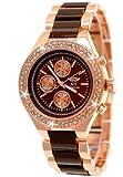 Designer Damenuhr,Exclusive Damen Strass Uhr in Chronograph Optik,Braun,Rose Gold,inkl.Uhrenbox,Geschenkbox