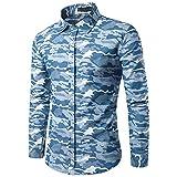 IMJONO Mens Shirts Herren Herbst Casual Camouflage Military Slim Fit Langarm Shirt Top Bluse(Large,Hellblau)