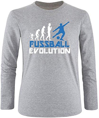 EZYshirt® Fussball Evolution Herren Longsleeve Grau/Weiss/Blau