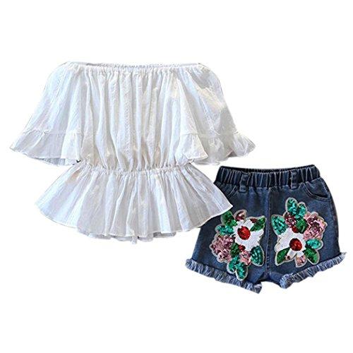 7 Mädchen Outfit (Bekleidung Longra Kinder Mädchen Sommer Wort weißes Schulterfrei Shirt Bluse + Denim Shorts Hose Set Taille Shirt Sommer Kleidung Outfits für Kinder Mädchen(3-7Jahre) (140CM 7Jahre, White))