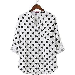 Dioufond Camisas Mujer Manga Larga Estampada de Lunares de Moda de Casual Camisetas de Cuello EN V(Blanco XXL)
