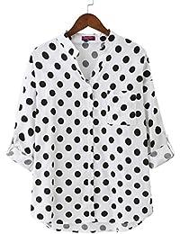 Dioufond Camisas Mujer Manga Larga Estampada de Lunares de Moda de Casual Camisetas de Cuello en