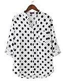 Dioufond Damen Elegante Punkte Design Bluse klassisch Langarmshirt Lose V-Ausschnitt Tops(Large, Weiß)
