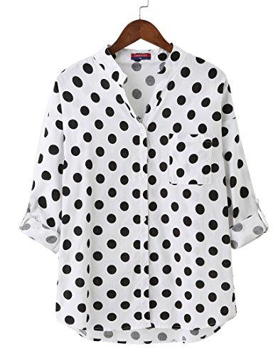 Dioufond Camisas Mujer Manga Larga Estampada de Lunares de Moda de Casual Camisetas de Cuello en V(Blanco S)