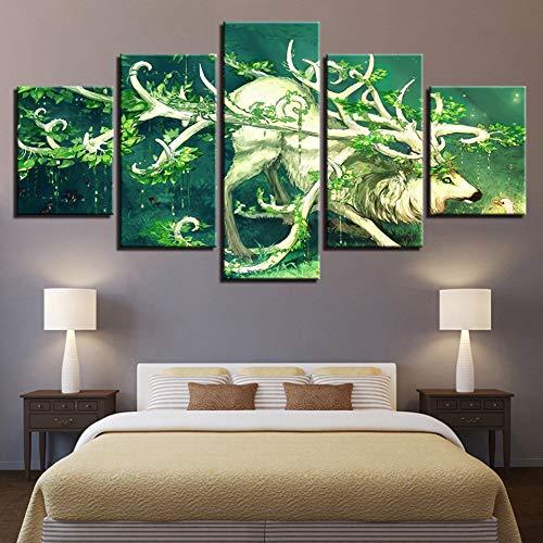 LZLZ 5 Leinwandbilder HD Drucke Modulare Leinwand Bilder 5 Stücke Wald Tier Deer Gemälde Baum Gehörnter Elch Dollar Poster Wohnkultur Wandkunst