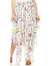 Sakkas Aina Cascading Handkerchief Dance Maxi Skirt With Adjustable Elastic Waist