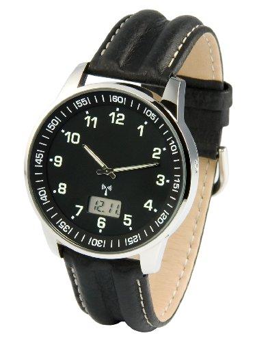 Elegante MARQUIS Herren Funkuhr (Junghans-Uhrwerk) Schwarzes Lederarmband, Edelstahlgehäuse 964.6907