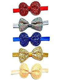 ANNA CREATIONS multi-coloured baby girl hairband headbands glitter elastic bow knot hair accessory set 5 PCS with gift box